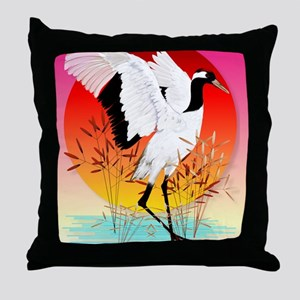 460_ipad_caseRed Crowned Crane and Se Throw Pillow