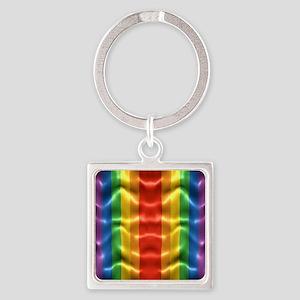 rainbow-flag-ripple_ff Square Keychain