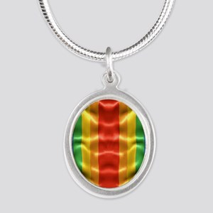 rainbow-flag-ripple_ff Silver Oval Necklace