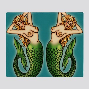 retro-tattoo-mermaid_ff Throw Blanket