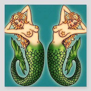 """retro-tattoo-mermaid_ff Square Car Magnet 3"""" x 3"""""""