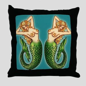 retro-tattoo-mermaid_ff Throw Pillow