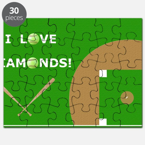 Softball Laptop Skin, I Love Diamonds Puzzle