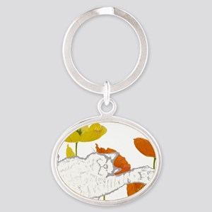 checkers poppies1 Oval Keychain