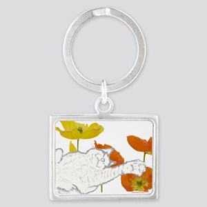 checkers poppies1 Landscape Keychain