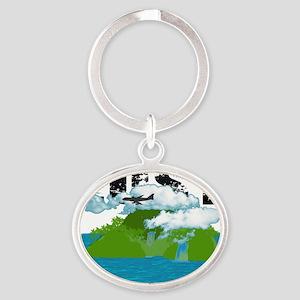 Lost islan Black Text Oval Keychain