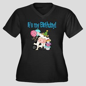 birthday cow Women's Plus Size Dark V-Neck T-Shirt