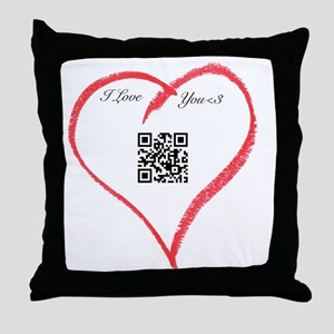 I Love You QR Code Throw Pillow