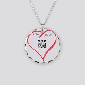 I Love You QR Code Necklace Circle Charm