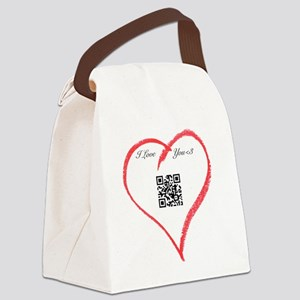 I Love You QR Code Canvas Lunch Bag