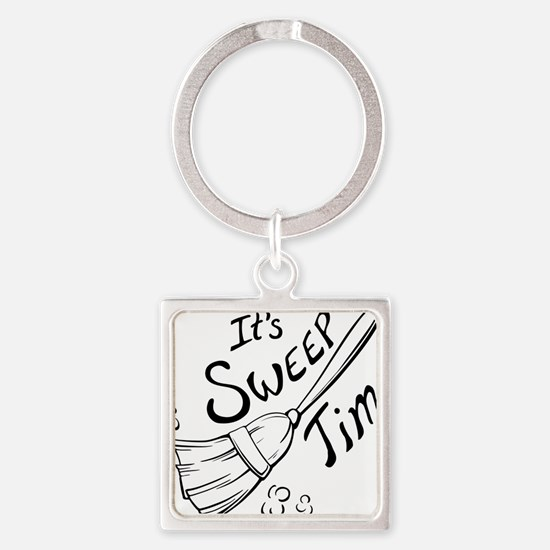 Sweep Time Black Square Keychain