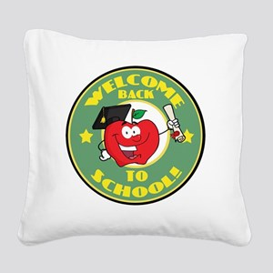 back to school apple Square Canvas Pillow