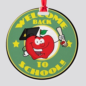 back to school apple Round Ornament