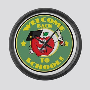 back to school apple Large Wall Clock
