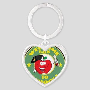 back to school apple Heart Keychain