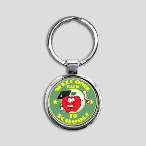 back to school apple Round Keychain