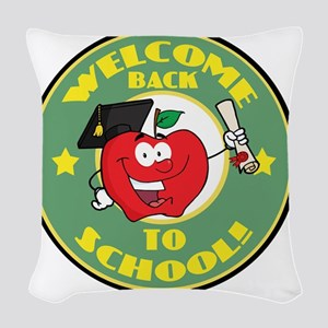 back to school apple Woven Throw Pillow