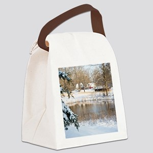 homePondSnow_blanket Canvas Lunch Bag