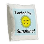 Fueled by Sunshine Burlap Throw Pillow