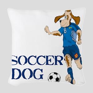SOCCER DOG LOGO A 10a blue Woven Throw Pillow