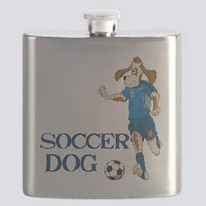 SOCCER DOG LOGO A 10a blue Flask