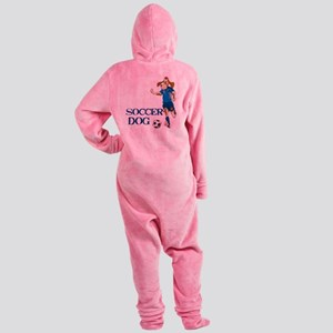 SOCCER DOG LOGO A 10a blue Footed Pajamas