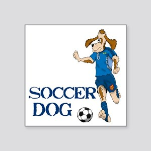 "SOCCER DOG LOGO A 10a blue Square Sticker 3"" x 3"""