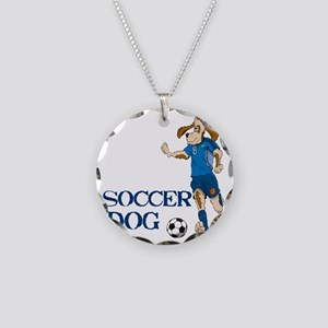 SOCCER DOG LOGO A 10a blue Necklace Circle Charm