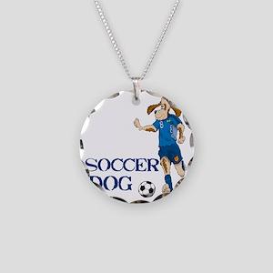 SOCCER DOG LOGO A 10a blue Necklace Circle Charm