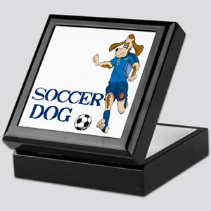 SOCCER DOG LOGO A 10a blue Keepsake Box