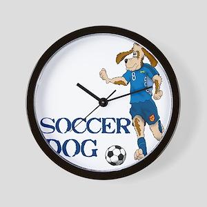 SOCCER DOG LOGO A 10a blue Wall Clock