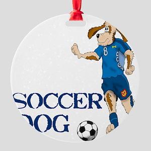 SOCCER DOG LOGO A 10a blue Round Ornament