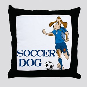 SOCCER DOG LOGO A 10a blue Throw Pillow