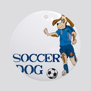 SOCCER DOG LOGO A 10a blue Round Ornament