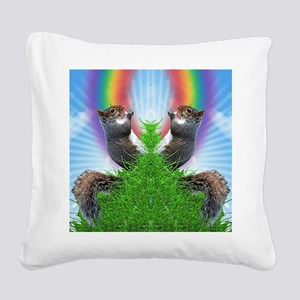 squirrel-with-rainbow_ff Square Canvas Pillow