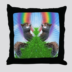 squirrel-with-rainbow_ff Throw Pillow