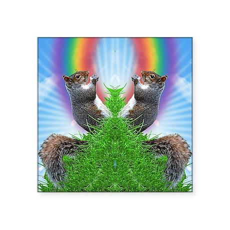 "squirrel-with-rainbow_ff Square Sticker 3"" x 3"""