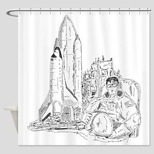 astronaut and shuttle Shower Curtain