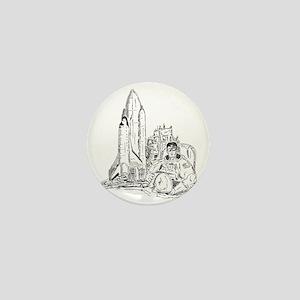 astronaut and shuttle Mini Button