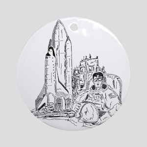 astronaut and shuttle Round Ornament