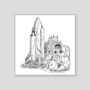 """astronaut and shuttle Square Sticker 3"""" x 3"""""""