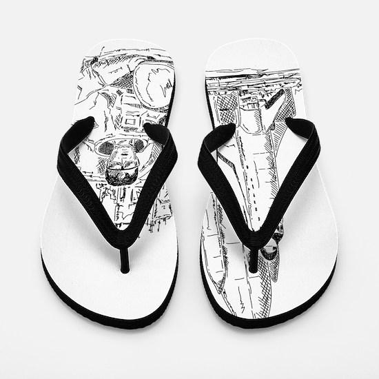 astronaut and shuttle Flip Flops
