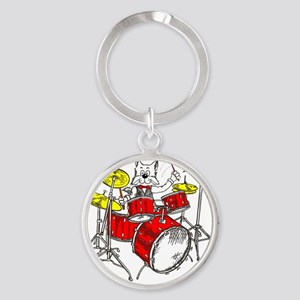 Drums in color Trans BackII Round Keychain