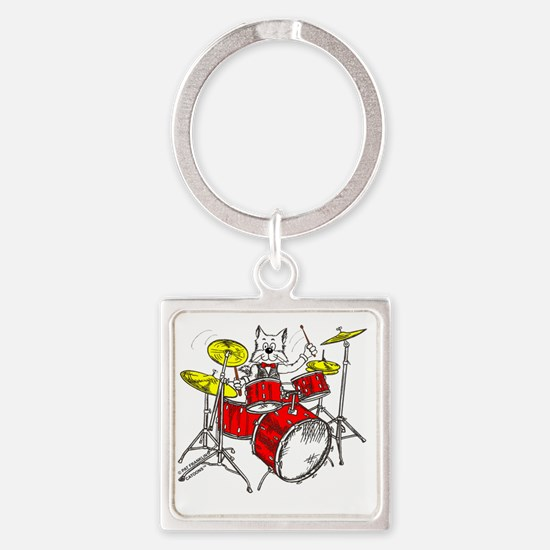 Drums in color Trans BackII Square Keychain