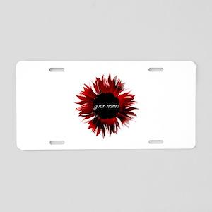 Red Flower Aluminum License Plate