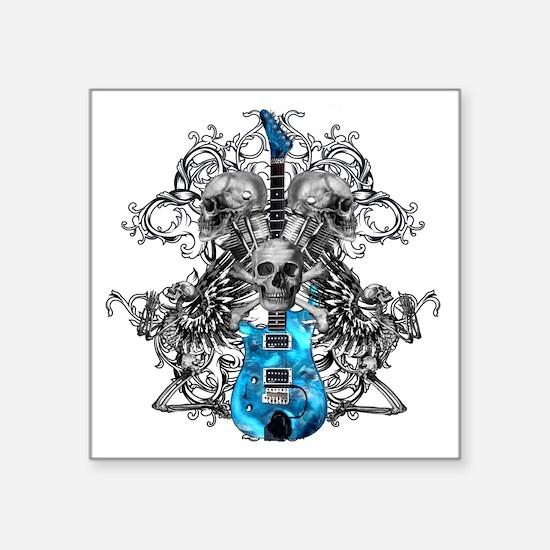 """Praying Angel Skeleton Guit Square Sticker 3"""" x 3"""""""