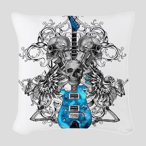 Praying Angel Skeleton Guitar  Woven Throw Pillow