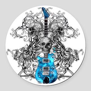 Praying Angel Skeleton Guitar Whi Round Car Magnet