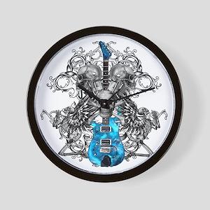 Praying Angel Skeleton Guitar White Flo Wall Clock