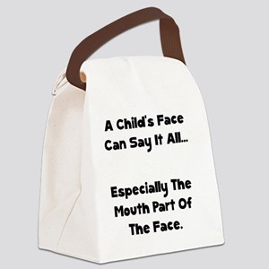 Childs Face Black Canvas Lunch Bag